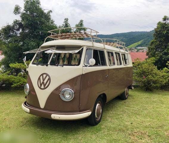 bus VW Typ 2 VW T1 Winker Camper Brown Cream Top Restauriert 1961