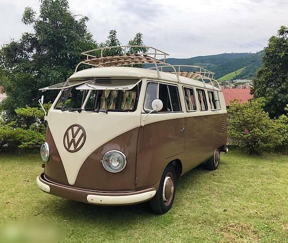 bus VW Typ 2 T1 Winker Camper Brown Cream Top Restauriert 1961
